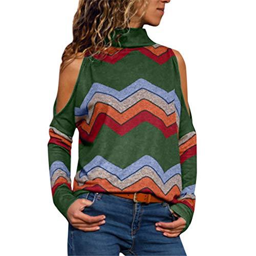 ESAILQ Frauen kalte Schulter Bluse geometrischen Blumendruck Jumper Damen Top(XX-Large,Armeegrün)