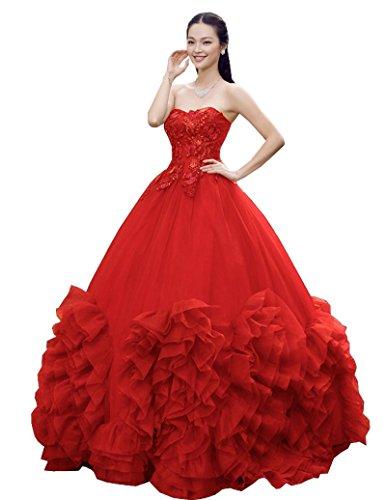 Beauty-Emily Hochzeitskleider Kurzarm Chiffon Neue Model Trägerlos Rüschen schnürung Perle Applikationen prinzessin günstig schmuck teuer Farbe Rot Größe EU48 (Neue Umstandsmode)