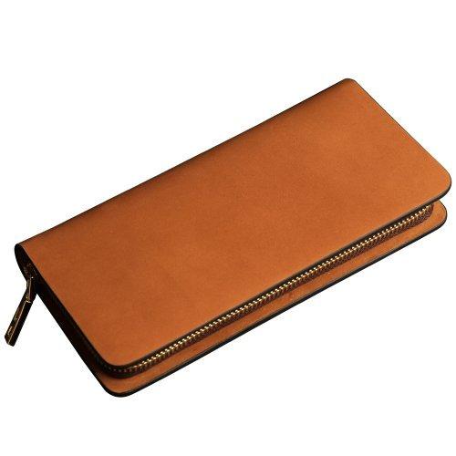 Oneworld Herren Rindleder Clutch Handyetui Universalbörse Geldbörse Börse Geldbeutel Geldtasche Portemonnaie 10.5x20x2.2cm(BxHxT) Khaki Gelb