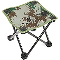Ruirain-ES Ultralight Aluminum Alloy Foldable Four Corners Chair Camouflage Outdoor Stool Chair Seat for Camping Hiking Fishing Picnic