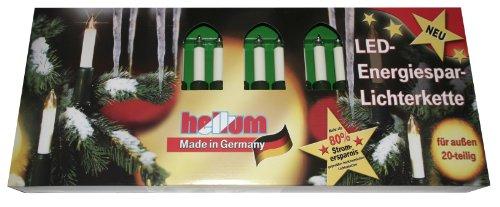Hellum 845549 LED-Energiespar Lichterkette Schaftkerzen, warm-weiß, 20-teilig, Gesamtlänge 22 m, für Innen/Außen