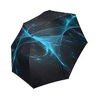 Kitchor Costum Blue Lights Polyester Pongee Waterproof Fabric Foldable Umbrella