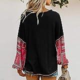 AmazingDays Damen Oberteile Langarm Zum KnöPfen Bluse Elegant Drucken Pulli Tops T-Shirt Sweatshirt Vintage Casual Pullover (Weiß, S) Vergleich