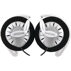 KOSS KSC75 Casque stéréo avec Clip d'oreille pour iPod, iPhone, MP3 et Smartphone, Noir / Argent