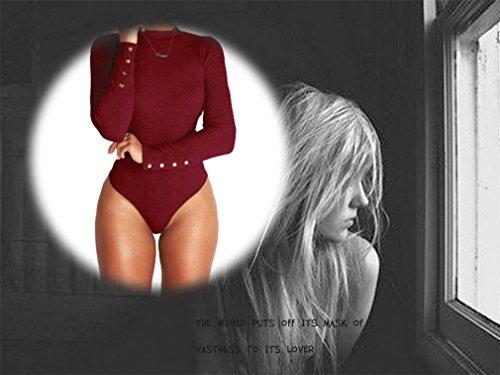 Supshark Printemps Femmes à Col Haut à Manches Longues Col Arrondi Polyester Haute Elasticité Slim Siamois Slip Vêtements Pour Dames Grande Taille S-XL Bourgogne