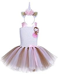 YiZYiF Disfraz de Infantil Unicornio Vestido Niña con Diadema Cosplay Para Fiesta Carnaval Actuación Ceremonia