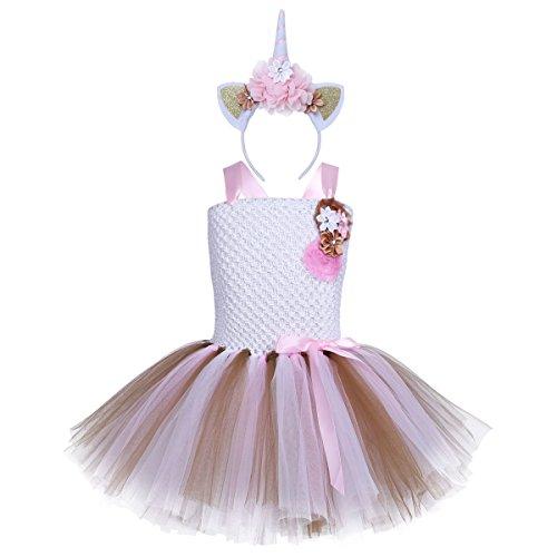 iEFiEL Einhorn Prinzessin Kostüm für Kinder - Komplettes Einhorn Kostüm für Mädchen Kleid mit Einhorn Stirnband Zu Geburtstag Cosplay Kostüm Weiß + Weiß Haarreif 128-140