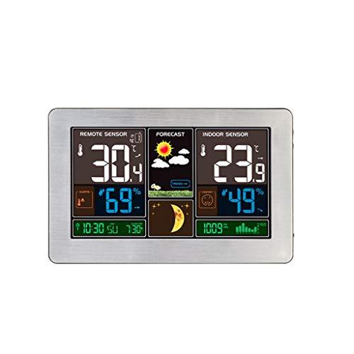 TMY Wetteruhr Bambus Holz Getreide Temperatur und Luftfeuchtigkeit Meter LED Wecker USB Kalender Mondphase Überwachung Uhren (Color : Silver, Größe : 21cm)