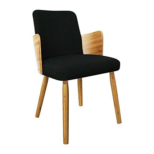 Potiron Designer-Sessel Liverpool, Bezug aus Leinen, schwarz, Füße aus Bambus Holz
