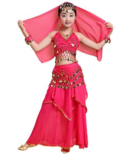 Anguang Mädchen Bauchtanz Rock Set Kinder Halloween Tanz Kostüm Rose#1 S