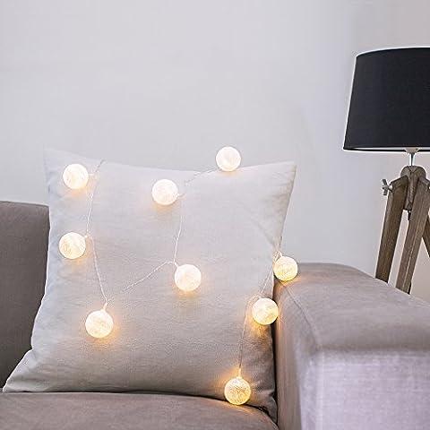 Guirnalda luminosa de 10 bolas de algodón blancas de LED de pilas de Lights4fun