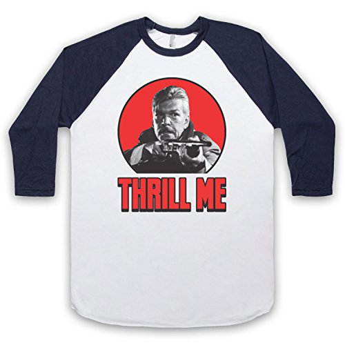 Inspiriert durch Night Of The Creeps Thrill Me Unofficial 3/4 Hulse Retro Baseball T-Shirt Weis & Ultramarinblau
