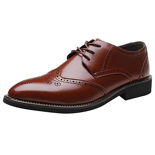 Shenn Britanique Style Hommes Élégant Pointe Pointue Oxfords Confort Cuir Synthétique Brogue Robe Chaussures Marron