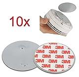 10er Set Magnetbefestigung als Zubehör für ABUS Rauchmelder und Hitzewarnmelder - RWM50, RWM250, RWM120, RM10, RM15, RM20, RM40 - nur für glatte Flächen (nicht für Rauhfaser oder losen Putz)