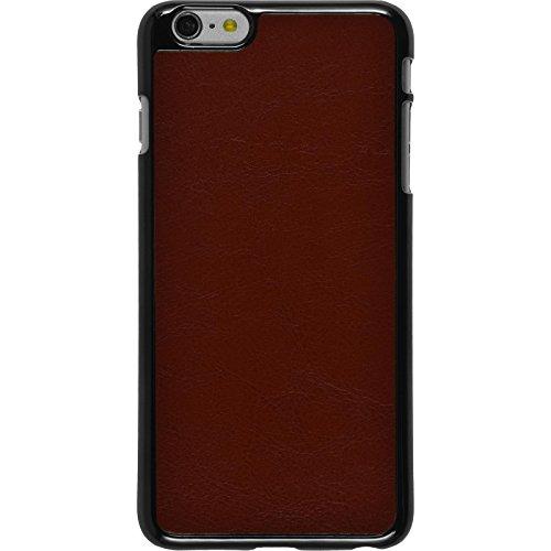 PhoneNatic Case für Apple iPhone 6 Plus / 6s Plus Hülle weiß Lederoptik Hard-case für iPhone 6 Plus / 6s Plus + 2 Schutzfolien Braun