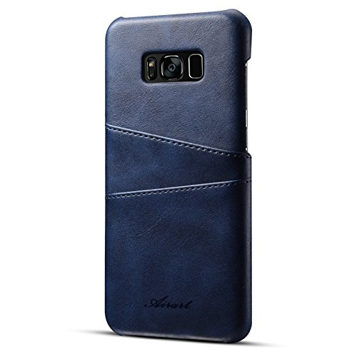 Samsung Galaxy S8 Plus Case, Airart Premium Vintage Soft Leather Wallet Case, Ultra Slim Snap-On Back Cover with 2 ID CRojoit Card Slots Holder for Galaxy S8 Plus(2017), Azul