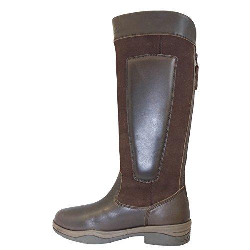 kayon Clydesdale de coffre d'extérieur-Confort Long équestre en cuir Mesdames d'équitation marron foncé