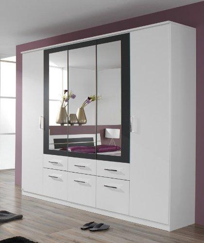 rauch Kleiderschrank Burano mit Spiegel, weiß/grau-metallic weiß/grau-metallic, B/H/T CA....
