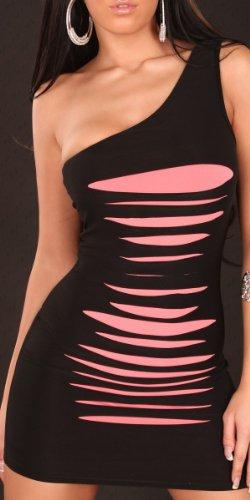 One Shoulder Mini - Kleid mit Rissen, versch. Farben Weiß