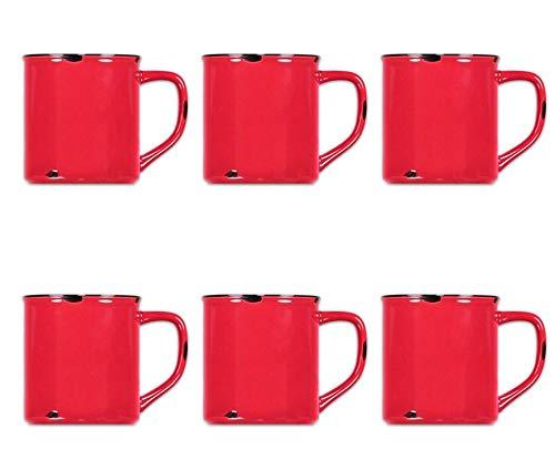 Tony Brown Hartwaren Kaffeebecher klein 300 ml in Emaille-Optik (6er, Rot)