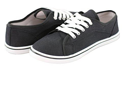Sneaker Di Scarpe Casual Da Donna Di Marca Ladies Sneaker Uni -black, Bianco, Marrone, Sabbia, Arancione, Giallo E Verde - Gr 36-41 Dal Nero