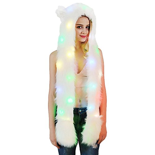 DecoBay Unisex Winter LED Künstliche Pelzmütze Warme Shaggy Kapuzenhandschuhe Plüschtiere Tier Halloween Karneval Einhorn Cosplay Kostüm - Einhorn Kostüm Rave