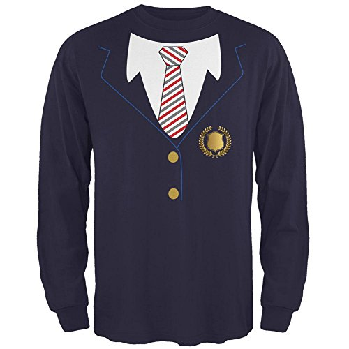 Halloween Private School Kostüme (Halloween American School Girl Kostüm Herren Long Sleeve T Shirt Marine)