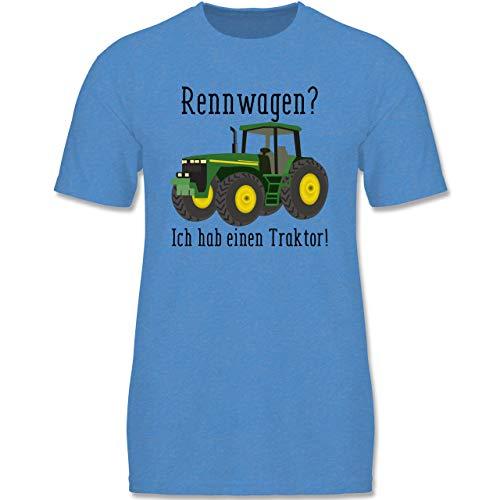 Fahrzeuge Kind - Rennwagen? Traktor! - 152-164 (12-14 Jahre) - Blau meliert - F140K - Jungen T-Shirt