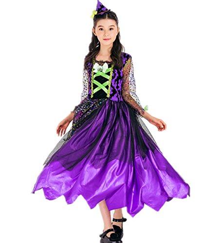 Kleid Märchen Mädchen (Halloween Cosplay Kostüme Lila Mädchen Märchen Kleinkind Hexe Kostüm)