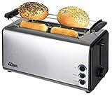 Toaster Langschlitz | 4 Scheiben Toastautomat | XXL Toaster | 1300 Watt | 5-Stufen Bräuneregler | Brötchenaufsatz | Auftau-Funktion | Krümmelschublade | Edelstahl |
