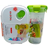 Tuelip Printed Lunch Box Set With Water Bottle For School Going Kids Girls & Boys (Green)