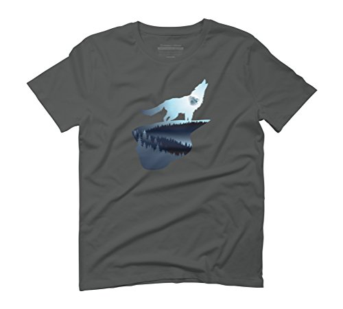 Howling Wolf and blue moon Men's Graphic T-Shirt - Design By Humans Anthracite