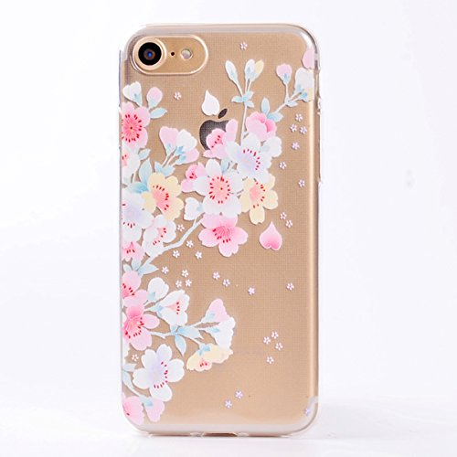 Custodia iPhone 7, iPhone 7 Cover Silicone, SainCat Custodia in Morbida TPU Protettiva Cover per iPhone 7,Creative Design Transparent Silicone Case Ultra Slim Sottile Morbida Transparent TPU Gel Cover ciliegia