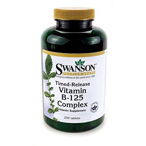 Swanson - Complexe B-125 (11 Vitamines B) 11 x 125mg, 250 comprimés à LIBÉRATION PROLONGÉE - Puissant Multi-Vitamines : B1 (Thiamine), B2 (Riboflavine), B3 (Nicotinamide), B4 (Choline), B5 (Acide Pantothénique), B6 (Pyridoxine), B7 (Inositol), B8 (Biotine), B9 (Acide Folique), B10 (PABA) & B12 (Cyanocobalamine) - Anti-Stress/Dépressions/Anxiété - Complément Alimentaire Multivitamines (Timed-Release Muti-Vitamin B125 Complex tablets Supplement)