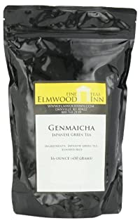 Elmwood Inn Fine Teas, Genmaicha Japanese Green Tea, 16-Ounce Pouch