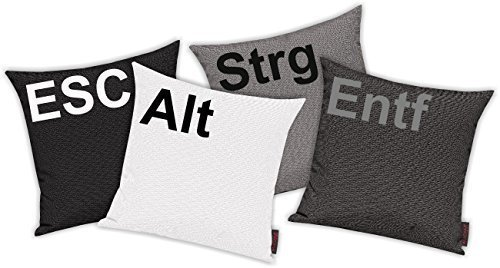 Kissenhüllen Set 4 Stück für Auserwählte! Sofakissen Motiv ESC, ALT, STRG und ENTF, Farbe grau