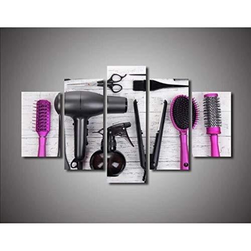 RDCHY Cuadro Lienzo Moderno 5 Piezas Herramientas de peluqueria HD Imagen De Póster Impresión Artística, Combinación Pintura Decorativa para Salón De Hogar/Sin Marco