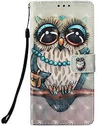 Prechkle Funda Cubierta de Teléfono Samsung Galaxy J4(2018) Cuero Premium con Pintura Colorida en 3D Anti Golpes y Billetera con Ranura para Tarjetas, Cierre Magnético(Búho).
