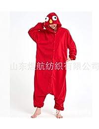 SALICEHB Roter Sesam-Fleece-Cartoon Einteiliger Pyjama-Startseite Service Tierkostüme