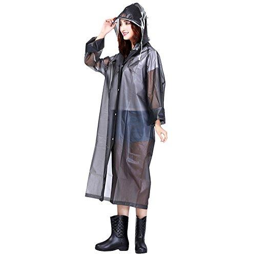 Butterme Unisex Portable Wasserdichter Poncho Regen mit Kapuze und wiederverwendbare Ärmel EVA Translucent Rain Poncho Wasserdichte Jacke (Weiß,M) Grau