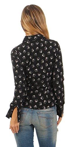 Fashion4Young - Chemisier - Manches Longues - Femme Noir