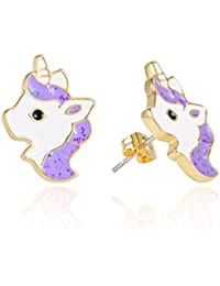 VU100 Unicorn Stud Earrings for Girls Kids Hypoallergenic Gold Unicorn Jewelry Birthday Party Christmas Gifts