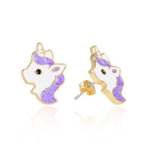 VU100 orecchini brillanti per bambini, con motivo con unicorno, colorati, in placcato oro, smalto