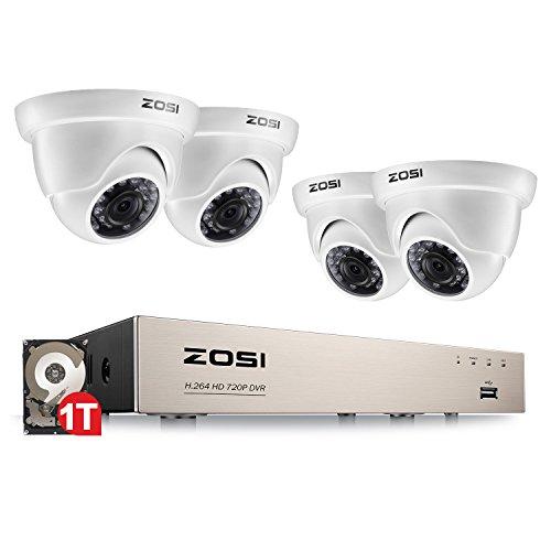 ZOSI Outdoor 720P HD Überwachungskamera Set 8CH 4in1 DVR Recorder mit 4 720P Außen Weiß Dome Kamera CCTV System für Innen und Außen, 1TB Festplatte, 20M IR Nachtsicht Dvr-kamera-system