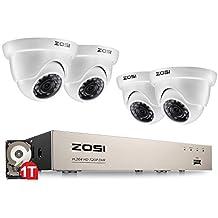 ZOSI Outdoor 720P HD Überwachungskamera Set 8CH 4in1 DVR Recorder mit 4 720P Außen Weiß Dome Kamera CCTV System für Innen und Außen, 1TB Festplatte, 20M IR Nachtsicht