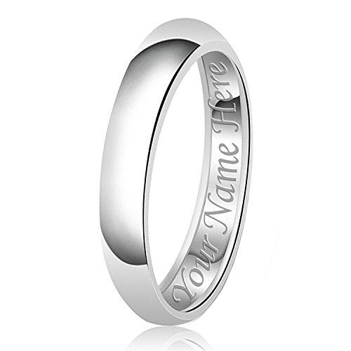 4mm nome personalizzato inciso classico argento sterling pianura fede nuziale anello, misura 10,5