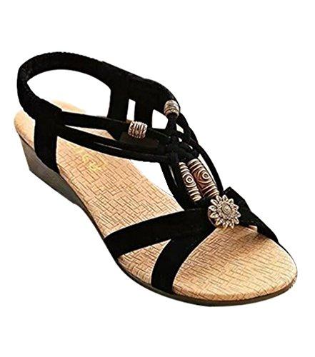 YOUJIA Sandales compensées Bohemian Peep Toe Perlé lanière cheville en T Slingback Chaussures de Plage Noir