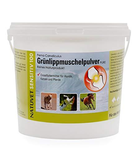 NatuVerde Grünlippmuschel-Pulver für Hunde, Katzen und Pferde, 1-kg-Dose mit Dosierlöffel. 100% reines Perna Canaliculus aus Neuseeland. -