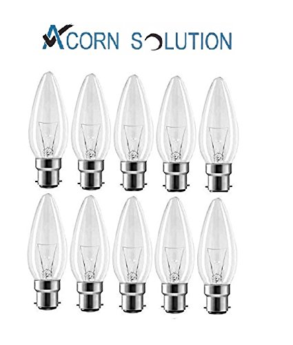 Acorn10 pack 60W Candle Light Bulbs Bayonet Cap B22 Clear 240V