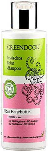 GREENDOOR Natur Shampoo Rose Hagebutte 200 ml aus BIO Olivenöl, für normales & coloriertes Haar, ohne Sulfate, ohne Silikon, ohne Konservierungsmittel, natürlich ohne Tierversuche, basische Haarpflege, all natural, biologisch abbaubar, Natur für Ihre Haare aus der Naturkosmetik Manufaktur